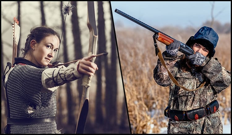 Two Girls Hunting With Bow And Rifle